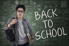 Student gives command for back to school Stock Photography