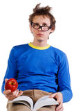 Student in glasses with apple Royalty Free Stock Photos