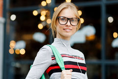 Student in glasses on background of glass showcases Stock Photography
