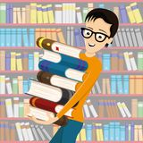Student in glasses with books. Student in glasses with books on the background of a bookcase vector illustration