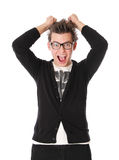 Student in glasses is very surprised Royalty Free Stock Images