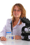 Student in glasses working in laboratory Royalty Free Stock Image