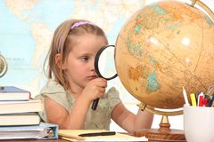 Student with a globe Royalty Free Stock Photography