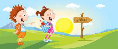 Student  go to school - vector Royalty Free Stock Images