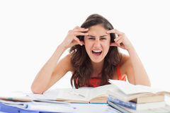 Student goes crazy doing her homework. Against white background Stock Photos