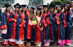 Student in gown, university graduate ceremony Stock Photo