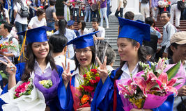 Student in gown, university graduate ceremony Royalty Free Stock Images