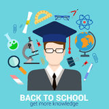 Student in graduate cap: knowledge education flat infographics Stock Photo