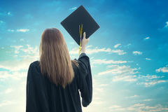 Student graduate holding certificated in hand stock photos