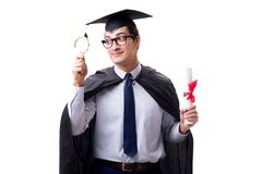 The student graduate isolated on white background. Student graduate isolated on white background Royalty Free Stock Photo