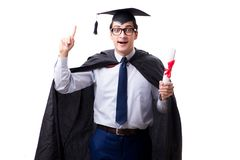The student graduate isolated on white background. Student graduate isolated on white background Stock Photo