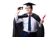 The student graduate isolated on white background. Student graduate isolated on white background Royalty Free Stock Photography