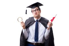The student graduate isolated on white background. Student graduate isolated on white background Royalty Free Stock Image