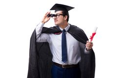 The student graduate isolated on white background. Student graduate isolated on white background Stock Image