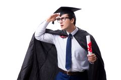 The student graduate isolated on white background. Student graduate isolated on white background Royalty Free Stock Images