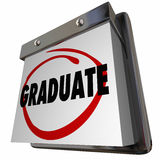 Student Graduate School Education Graduation Calendar Stock Images