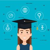 Student graduating electronic education. Vector illustration design Royalty Free Stock Images