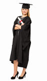 Student In Graduation Gown Holding Certificate Royalty Free Stock Photo
