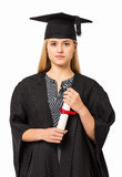 Student In Graduation Gown Holding Certificate Stock Photos