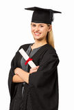 Student In Graduation Gown Holding Certificate Royalty Free Stock Photography