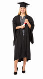 Student In Graduation Gown Holding Diploma Stock Photography