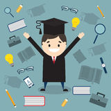 The student in graduation gown and mortarboard  Stock Photography