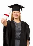 Student In Graduation Gown Showing Certificate Stock Images