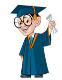 Student graduation. Illustration of a University student in his graduation,holding the diploma Stock Photography