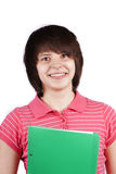 Student with green folder Royalty Free Stock Photos