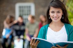 Student with a group Royalty Free Stock Photography
