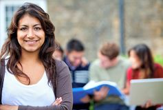 Student with a group Royalty Free Stock Image