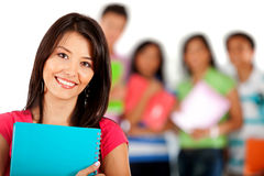 Student with a group Royalty Free Stock Photos