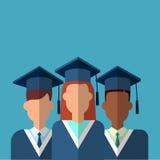 Student Group Graduation Gown royaltyfri illustrationer