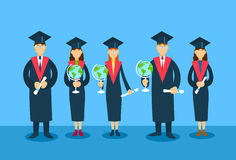 Student Group Graduation Gown Hold Globe Paper Diploma Royalty Free Stock Photo