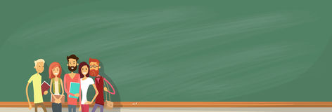 Student Group Over Green Blackboard Holding Books University Education Royalty Free Stock Image
