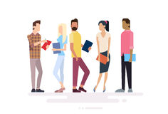 Student Group People Holding Books Education stock illustration