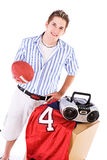 Student: Guy With Stuff For College Dorm Room Royalty Free Stock Photography