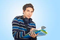 Student guy writing in notebook Stock Image