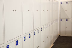 Student Gym Lockers University School Campus Hallway Storage Locker College.  Room.  cabinets in a   at  or museum Royalty Free Stock Photography