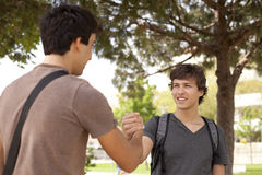 Student handshake. Happy young student giving a handshake to his classmate (selective focus Royalty Free Stock Photos