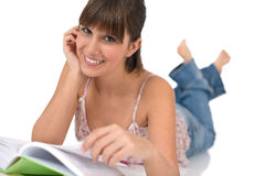 Student - Happy female teenager read book Stock Photo
