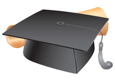 Student hat and diploma Royalty Free Stock Image