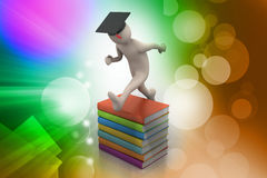 Student with hat Jumping of joy holding diploma. Royalty Free Stock Photography