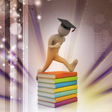 Student with hat Jumping of joy holding diploma. Royalty Free Stock Images