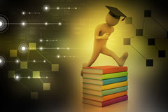 Student with hat Jumping of joy holding diploma. Royalty Free Stock Image