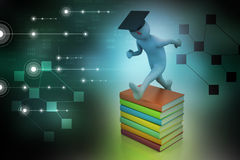 Student with hat Jumping of joy holding diploma. Stock Images