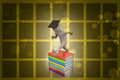 Student with hat Jumping of joy holding diploma. Stock Photography