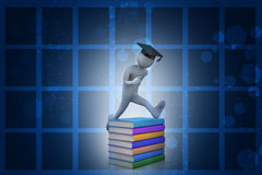 Student with hat Jumping of joy holding diploma. Royalty Free Stock Photos