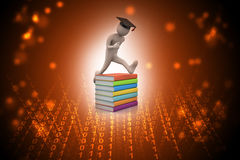 Student with hat Jumping of joy holding diploma in laptop Stock Image