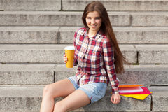 Student having a coffee break Stock Images